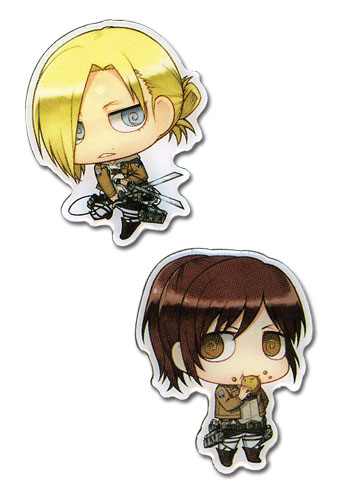 Attack On Titan - Sasha & Annie Metal Pins, an officially licensed Attack on Titan Pin / Badge