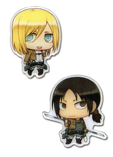 Attack On Titan - Sd Christa & Ymir Metal Pins, an officially licensed Attack On Titan product at B.A. Toys.