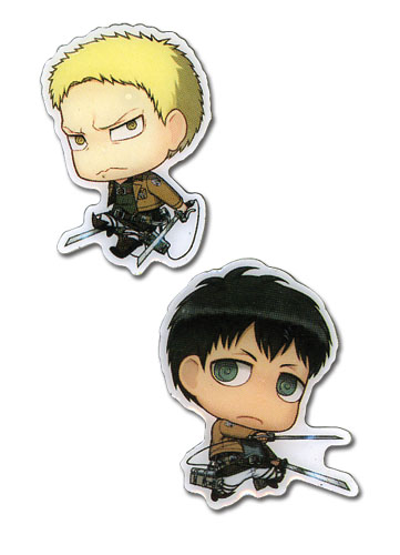 Attack On Titan - Sd Reiner & Conny Metal Pins officially licensed Attack On Titan Pins & Badges product at B.A. Toys.