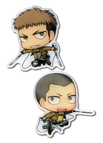 Attack On Titan - Sd Jean & Conny Metal Pins, an officially licensed Attack on Titan Pin / Badge