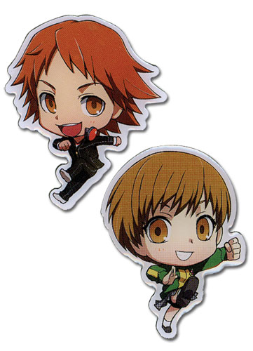 Persona 4 - Sd Yosuke & Chie Pin Set officially licensed Persona Pins & Badges product at B.A. Toys.