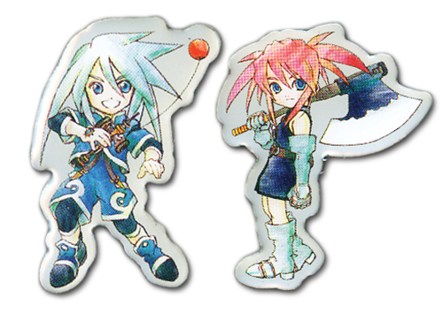 Tales Of Symphonia - Sd Genis & Preasea Pin Set, an officially licensed product in our Tales Of Symphonia Pins & Badges department.
