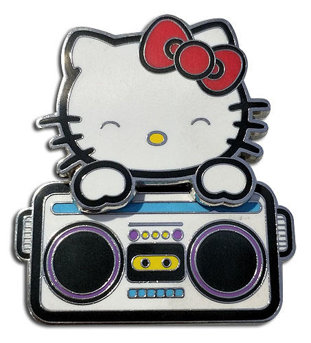 Hello Kitty - Hello Kitty Bopping Radio Pin officially licensed Hello Kitty Pins & Badges product at B.A. Toys.