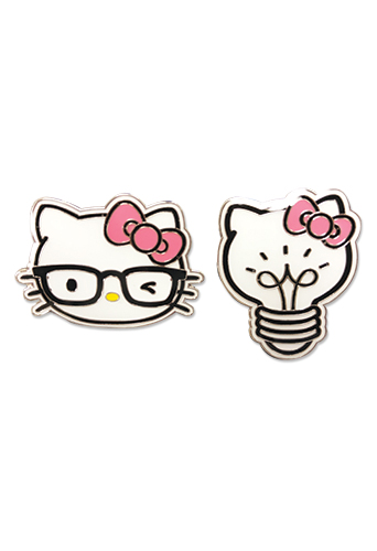 Hello Kitty - Kitty Head And Light Bulb Enamel Pin Set, an officially licensed product in our Hello Kitty Pins & Badges department.