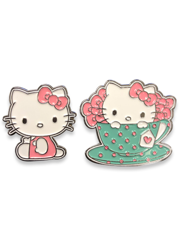 Hello Kitty - Tea Set Hello Kitty Enamel Metal Pin Set officially licensed Hello Kitty Pins & Badges product at B.A. Toys.