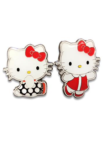 Hello Kitty - Retro Hello Kitty Enamel Pin Set officially licensed Hello Kitty Pins & Badges product at B.A. Toys.
