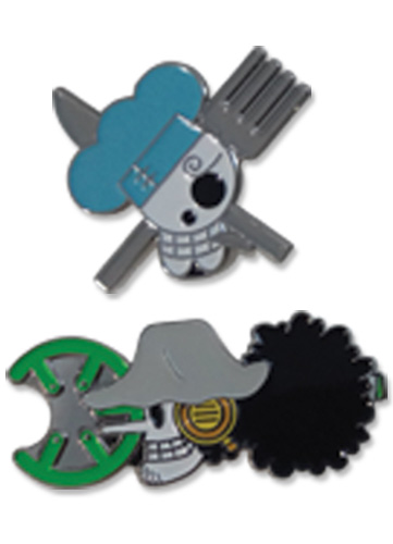 One Piece - Sanji & Usopp Skull Pin Set 1.5'' officially licensed One Piece Pins & Badges product at B.A. Toys.