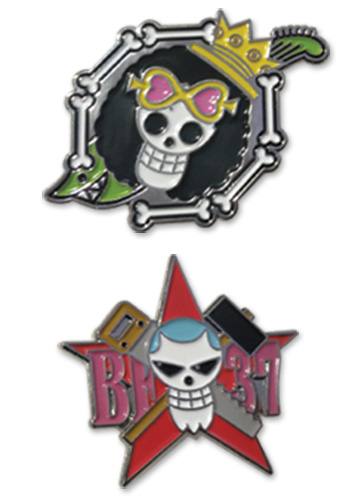 One Piece - Brooke & Franky Skull Pin Set 1.5'' Pin Set officially licensed One Piece Pins & Badges product at B.A. Toys.