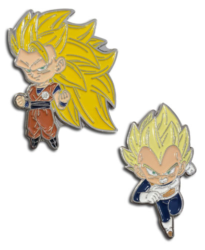 Dragon Ball Super - Ss3 Goku & Ss Vegeta Enamel Pins officially licensed Dragon Ball Super Pins & Badges product at B.A. Toys.