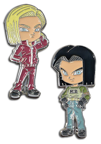 Dragon Ball Super - Android 17 & Android 18 Enamel Pins officially licensed Dragon Ball Super Pins & Badges product at B.A. Toys.