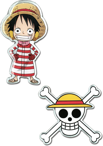 One Piece - Luffy & Luffy Skull Metal Pins officially licensed One Piece Pins & Badges product at B.A. Toys.