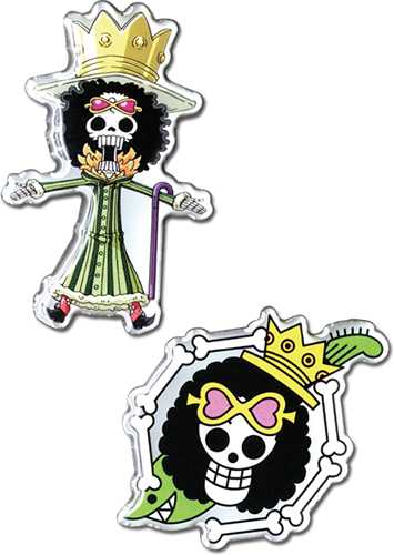 One Piece - Brook & Brook Skull Metal Pins officially licensed One Piece Pins & Badges product at B.A. Toys.