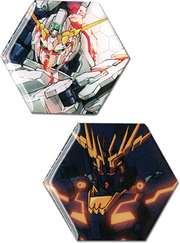 Gundam Uc - Unicorn Gundam & Banshee Metal Pins officially licensed Gundam Uc Pins & Badges product at B.A. Toys.