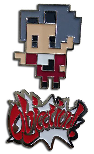 Ace Attorney - Miles & Objection Pins, an officially licensed Ace Attorney product at B.A. Toys.