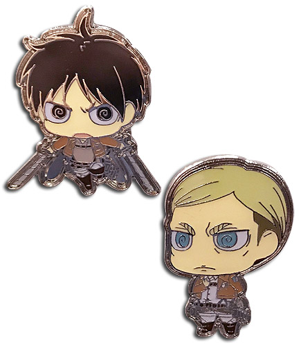Attack On Titan S2 - Sd Eren & Erwin Pins, an officially licensed product in our Attack On Titan Pins & Badges department.