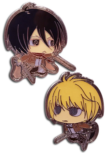 Attack On Titan S2 - Sd Mikasa & Armin Pins, an officially licensed product in our Attack On Titan Pins & Badges department.