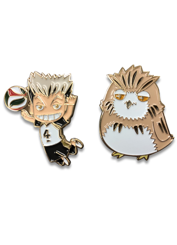 Haikyu!! - Bokuto & Bokuto Owl Pins officially licensed Haikyu!! Pins & Badges product at B.A. Toys.