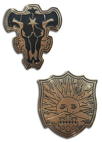 Black Clover - The Black Bulls & The Golden Dawn Pin Set officially licensed Black Clover Pins & Badges product at B.A. Toys.