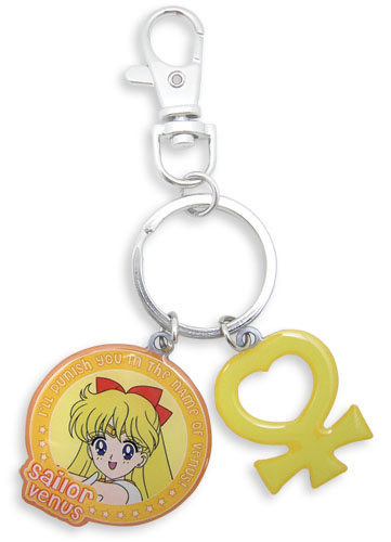 Sailormoon Sailor Venus & Symbol Metal Keychain, an officially licensed product in our Sailor Moon Key Chains department.