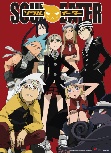 Soul Eater Red Background Group Wall Scroll, an officially licensed product in our Soul Eater Wall Scroll Posters department.