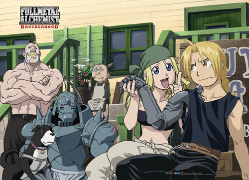 Fma Brotherhood Group At Rockbell's Shop Wall Scroll officially licensed product at B.A. Toys.