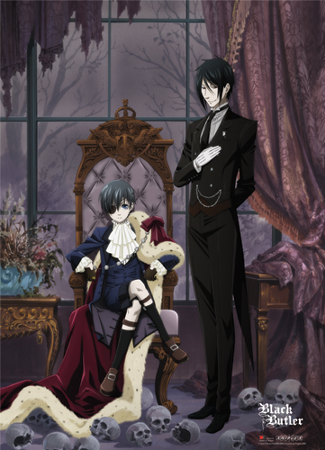 Black Butler Ciel With Clock Wall Scroll officially licensed product at B.A. Toys.