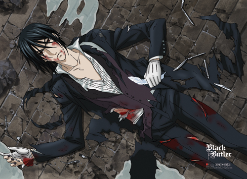 Black Butler Wounded Butler Wall Scroll officially licensed product at B.A. Toys.