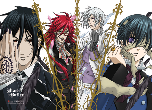 Black Butler Sebastian, Grell, Ash & Ciel Wall Scroll officially licensed product at B.A. Toys.