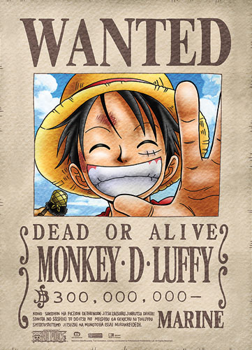 One Piece Luffy Wanted Wallscroll officially licensed product at B.A. Toys.