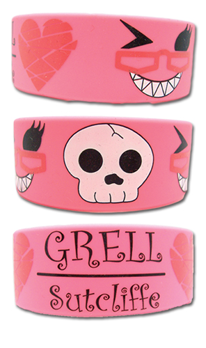 Black Butler Grell Sutcliffe Pink Pvc Wristband, an officially licensed product in our Black Butler Wristbands department.