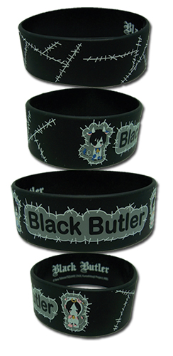 Black Butler Ciel And Sebastian Cows Wristband officially licensed Black Butler Wristbands product at B.A. Toys.