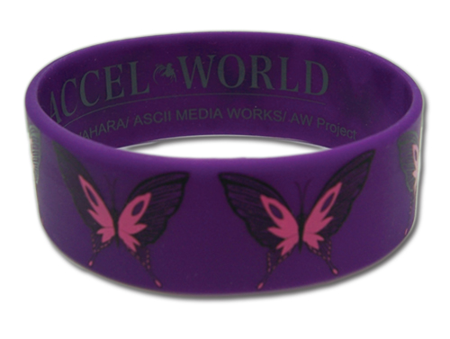 Accel World Kuroyukihime Butterfly Pvc Wristband officially licensed Accel World Wristbands product at B.A. Toys.