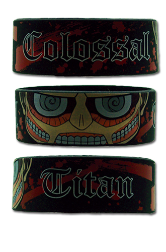 Attack On Titan Sd Colossal Titan Pvc Wristband officially licensed Attack On Titan Wristbands product at B.A. Toys.