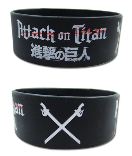 Attack On Titan - Logo Pvc Wristband, an officially licensed product in our Attack On Titan Wristbands department.