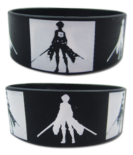 Attack On Titan - Eren Silhouette Pvc Wristband officially licensed Attack On Titan Wristbands product at B.A. Toys.