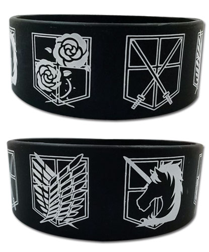 Attack On Titan - Regiment Emblem Pvc Wristband, an officially licensed product in our Attack On Titan Wristbands department.