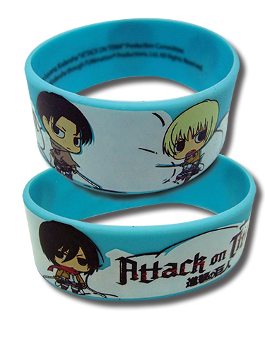 Attack On Titan - Group Sd Pvc Wristband officially licensed Attack On Titan Wristbands product at B.A. Toys.