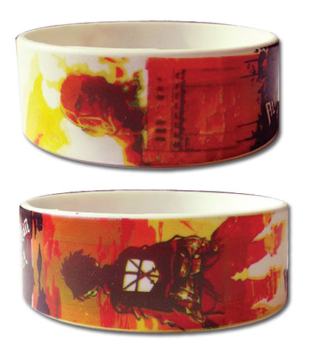 Attack On Titan - Eren & Colossal Titan Staredown Pvc Wristband officially licensed Attack On Titan Wristbands product at B.A. Toys.