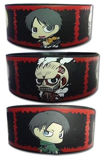 Attack On Titan - Sd Group Panels Pvc Wristband, an officially licensed product in our Attack On Titan Wristbands department.