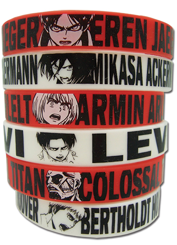Attack On Titan - Multi Pack Pvc Wristband, an officially licensed product in our Attack On Titan Wristbands department.