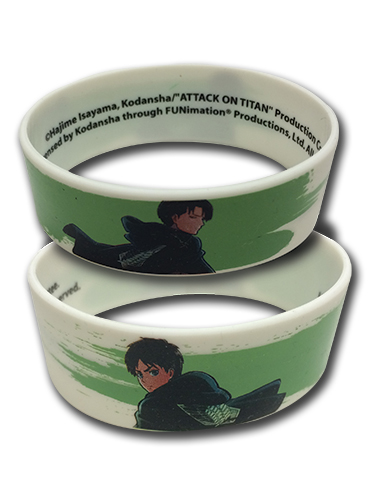 Attack On Titan - Eren And Levi Pvc Wristband officially licensed Attack On Titan Wristbands product at B.A. Toys.