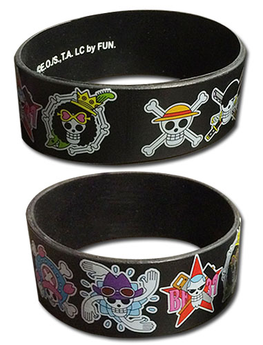 One Piece - Straw Hat Crew Jolly Rogers Pvc Wristband, an officially licensed product in our One Piece Wristbands department.