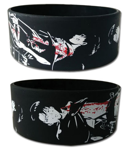 Attack On Titan - Eren & Levi Pvc Wristband, an officially licensed Attack On Titan product at B.A. Toys.