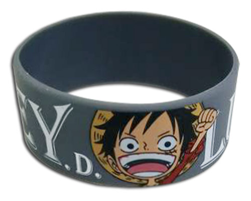 One Piece - Monkey D. Luffy Pvc Wristband officially licensed One Piece Wristbands product at B.A. Toys.