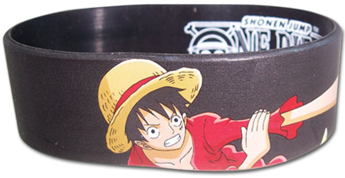 One Piece - Luffy Punches Pvc Wristband officially licensed One Piece Wristbands product at B.A. Toys.