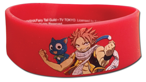 Fairy Tail - Happy & Natsu Pvc Wristband, an officially licensed product in our Fairy Tail Wristbands department.