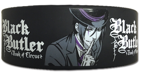 Black Butler Boc - B - Sebastian Shh Pose Pvc Wristband, an officially licensed Black Butler Book Of Circus product at B.A. Toys.