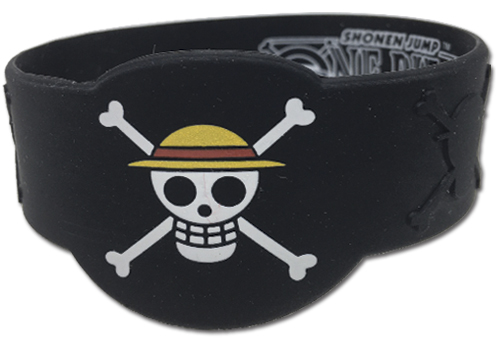 One Piece - Luffy Jolly Roger Pvc Wristband officially licensed One Piece Wristbands product at B.A. Toys.