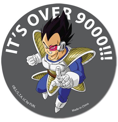 Dragon Ball Z Its Over 9000!!! Sticker officially licensed product at B.A. Toys.