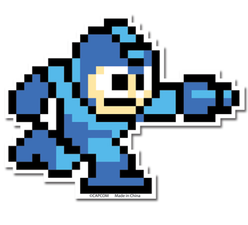 Mega Man 10- Running With Buster Sticker, an officially licensed product in our Mega Man Stickers department.